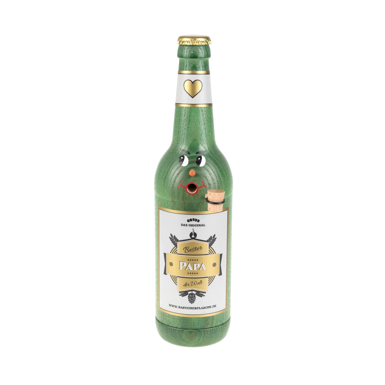"""Räucherflasche Bier Longneck 0,5 grün - """"Bester Papa"""""""