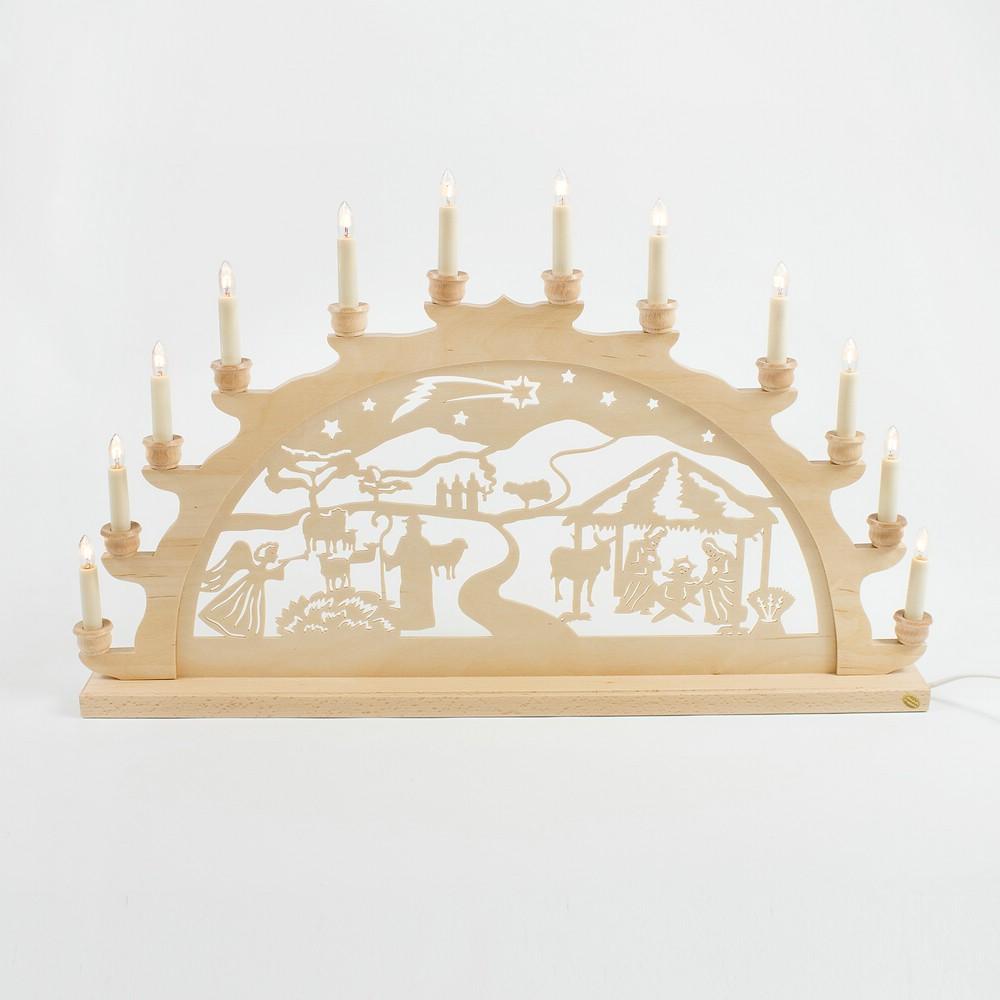Holz-Schwibbogen Geburt Jesus Christus - 70 cm