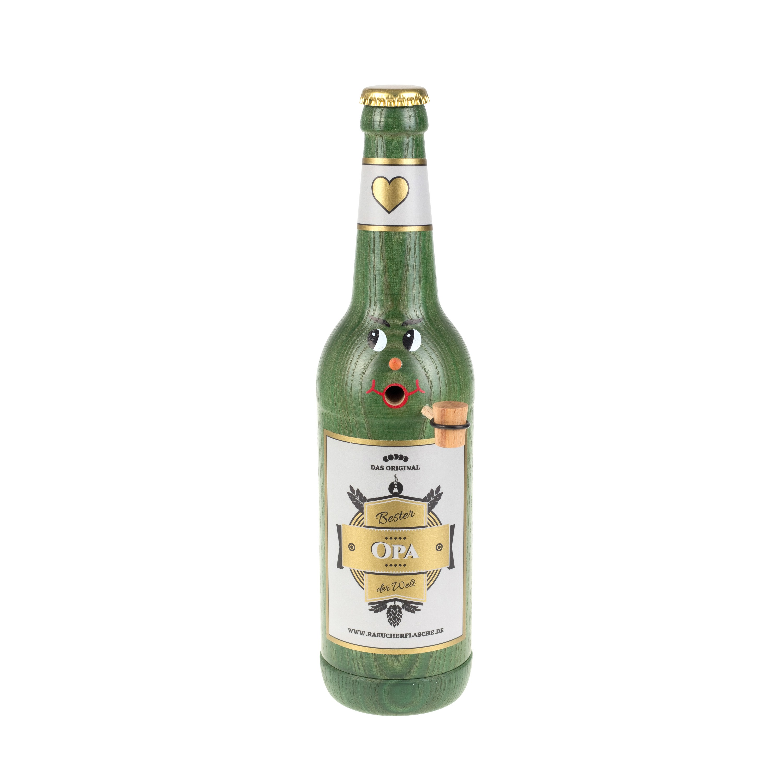 """Räucherflasche Bier Longneck 0,5 grün - """"Bester Opa"""""""