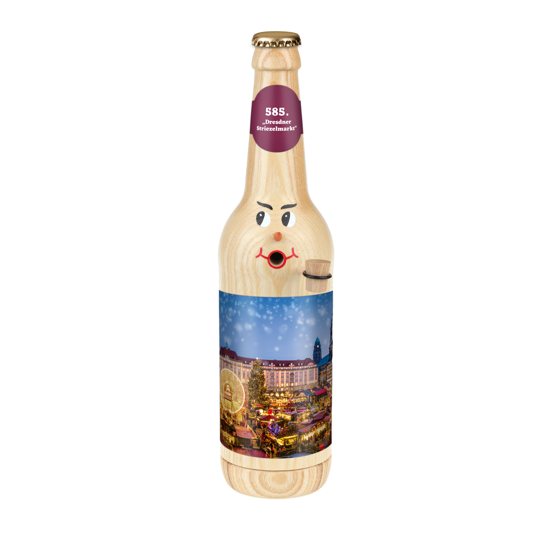 """Räucherflasche Bier Longneck 0,5 natur - """"585. Dresdner Striezelmarkt"""""""