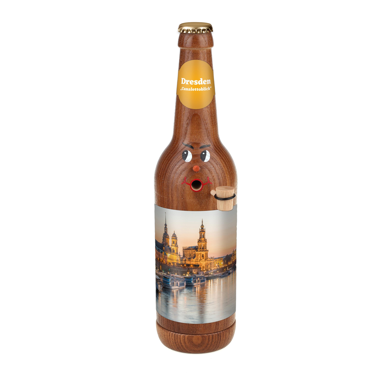 """Räucherflasche Bier Longneck 0,5 braun - """"Dresden Canalettoblick"""""""