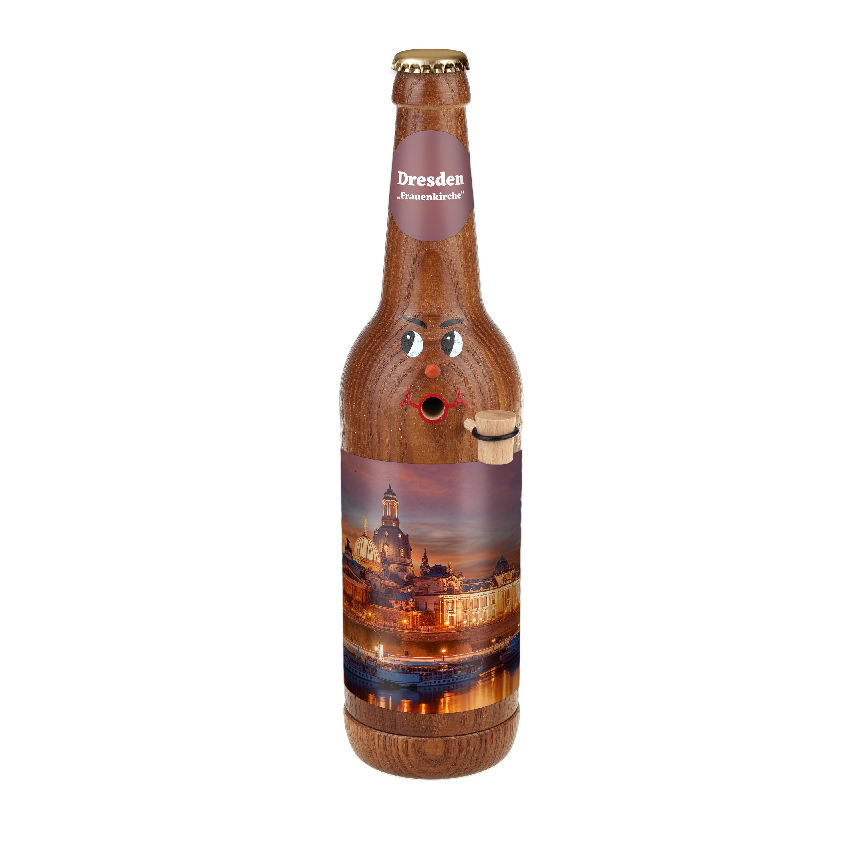 "Räucherflasche Bier Longneck 0,5 braun - ""Dresden Frauenkirche"""