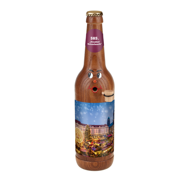 """Räucherflasche Bier Longneck 0,5 braun - """"585. Dresdner Striezelmarkt"""""""