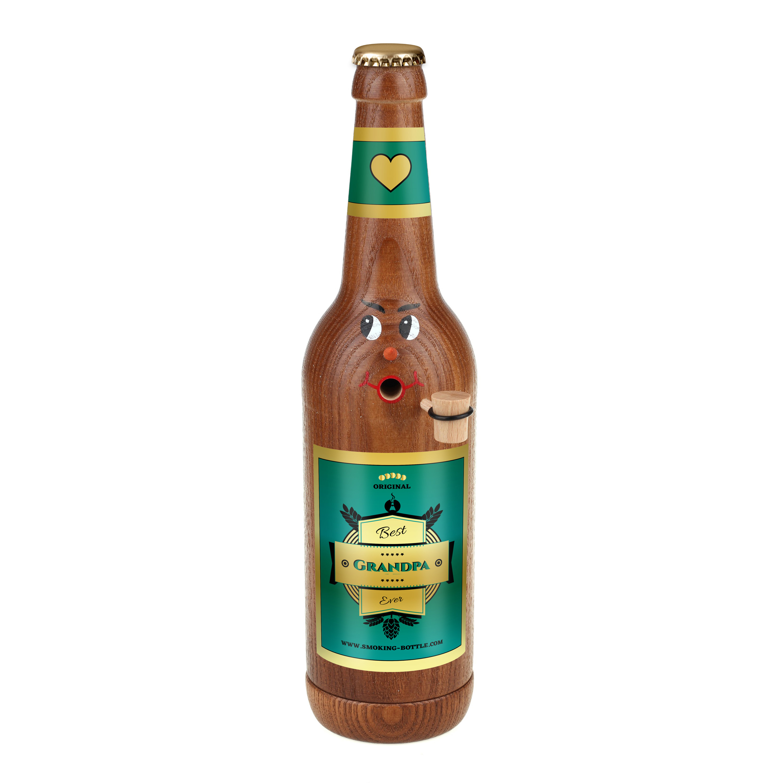 "Räucherflasche Bier Longneck 0,5 braun - ""Best Grandpa ever"""