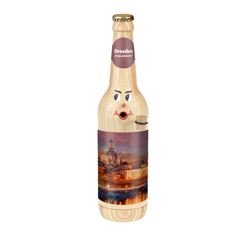 "Räucherflasche Bier Longneck 0,5 natur - ""Dresden Frauenkirche"""