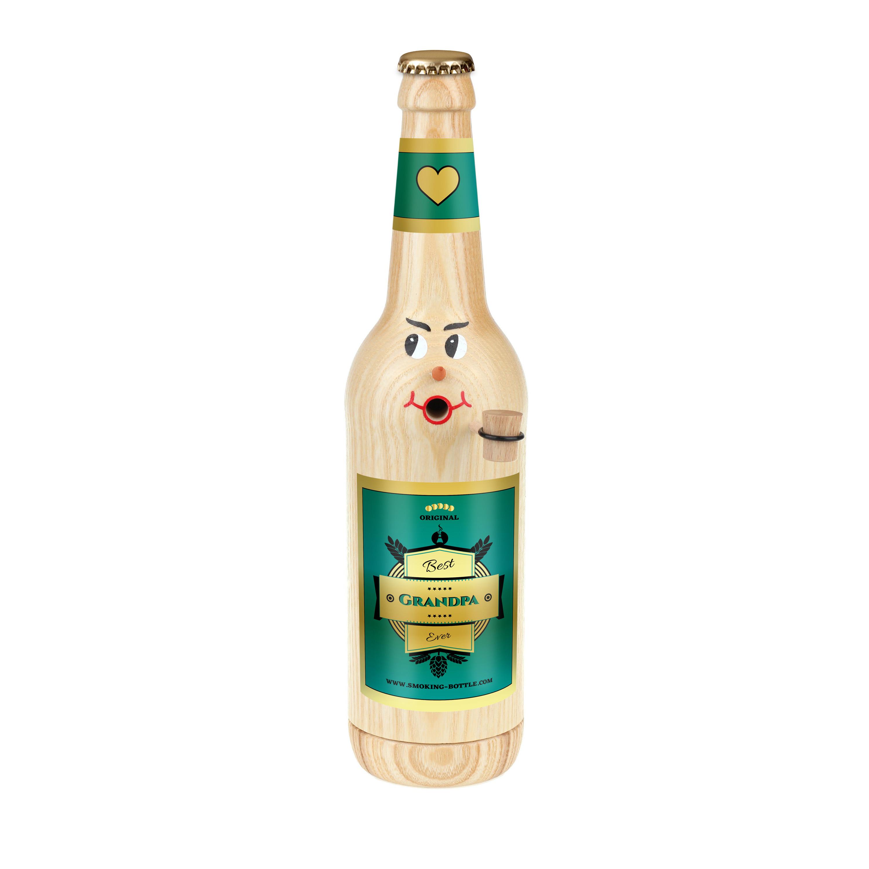 "Räucherflasche Bier Longneck 0,5 natur - ""Best Grandpa ever"""